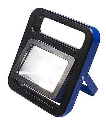 as - Schwabe Chip-LED-Strahler 10 W mit Akku, IP 54 Baustrahler für Aussen und Baustelle, 1 Stück, blau,