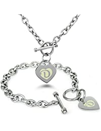 Acero Inoxidable Letra del Alfabeto D Inicial Encanto del Corazón del Grabado Pulsera y Collar
