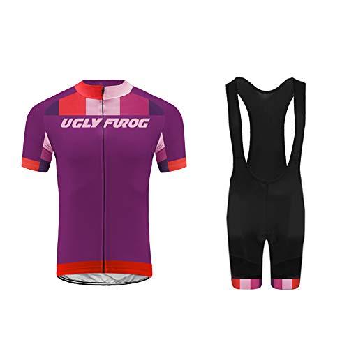 Uglyfrog Wear Herren Radtrikot Set Kurzarm Trikot Radfahren Latzhose Pro Team Radsportbekleidung Atmungsaktiv Fahrrad Shirt Quick Dry