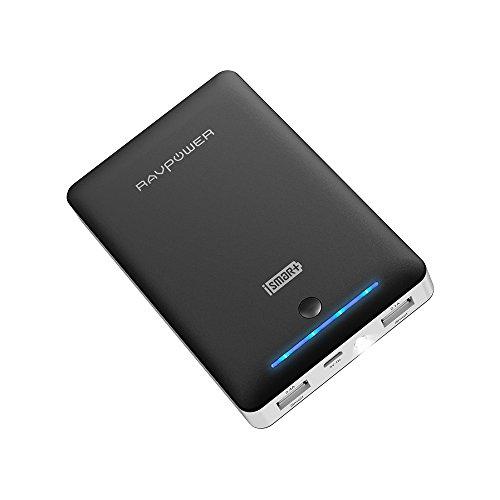 Batería Externa RAVPower 16750mAh, Salida de 2,1A & 2,4A con Linterna LED, Power Bank para iPhone Smartphone Tablet Samsung Android y Más, Incluye 2 Cables Micro USB y 1 Bolsita de Viaje - Negro