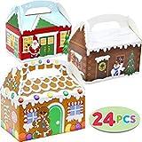 JOYIN 24 Pieces 3D Cajas de Regalo Navidad Cajas Papel Caramelo Caja de Dulces contenedor de Galletas Suministros de Fiesta de Navidad