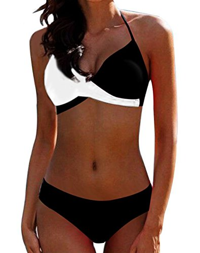 AHOOME Damen Bikini Push Up Gepolstert Streifen rayures Triangel Brasilianische Bademode Bikini-Sets(Weiß-3,XXL)