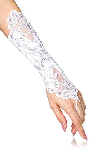 Add Health Handschuhe Steampunk Gothic Leder Latex Spitze OS … (Handstulpen mit Stickerei Weiß 23)