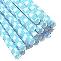 KKY Biodegradable Checkered Pattern Paper Drinking Straws Striped Birthday For Weddi