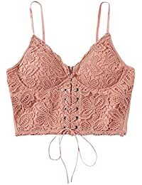87fcb1c8f473d SheIn Women s Sexy Strappy Lace Up Front Lace Bralette Zipper Cami Crop Top