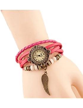 Da.Wa Reloj de Pulsera Brazalete Cuero Trenzado Retro con Pequeña ALa Una Regalo Perfecto para Mujer