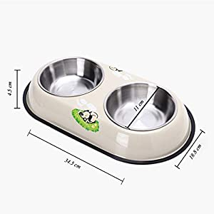 ZRYJWG Dog Bowls Non-Slip Double Stainless Steel Bowls for Family Pets, They are great for travelling, hiking, camping Travel Outdoor Dish Feeder by ZRYJWG