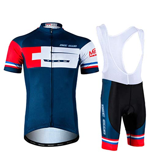 YILIFA Fahrradbekleidung Kurzarm-Set Rennrad-Radsport-Kits + Trägerhose mit 3D-Polsterung,L