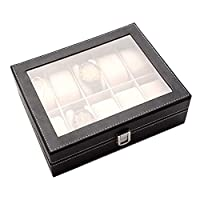 JIGAN Jewelry Box, PU Jewelry Collection Storage Organizer, Business 10-Seat Watch Box