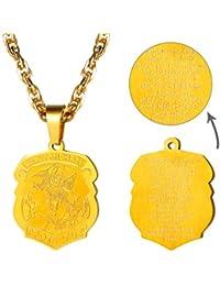 a4b398e4183a PROSTEEL Collar de Placa Ángel San Miguel Colgante Personalizable de Acero  Inoxidable Chapado en Oro 18K
