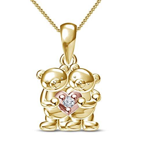 Vorra Fashion due tono argento Sterling 925CZ Gemelli Ciondolo a forma di orsetto W/Catena