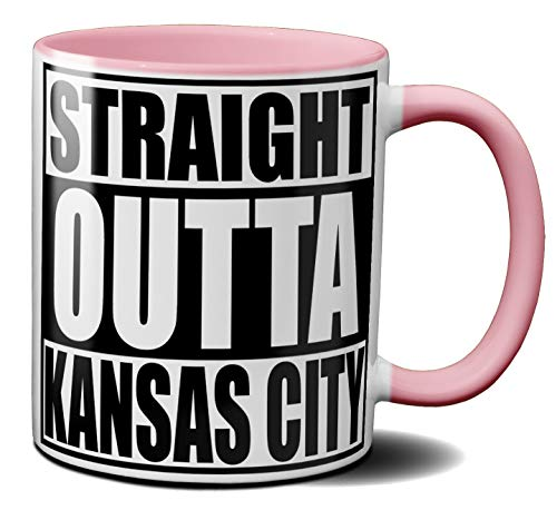OM3® - Kansas-City - Café - Tasse | Keramik Becher | American Football Mug | 11oz 325ml | Beidseitig Bedruckt | Rosa
