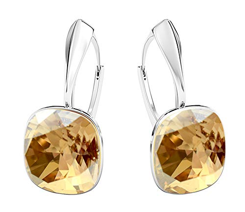 Crystals & Stones NEUHEIT - SQUARE - Tolle Ohrringe - FARBE VARIANTEN !! - Silber 925 Schön Damen Ohrringe mit Kristallen von Swarovski Elements - Wunderbare Ohrringe !! (Golden Shadow)