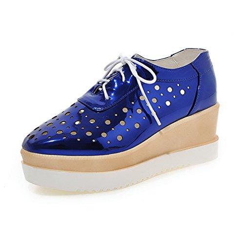 VogueZone009 Femme à Talon Correct Verni Couleur Unie Lacet Carré Chaussures Légeres Bleu