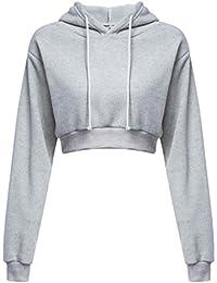 0a5acefca101c Sky Mujer Cuerpo Corto Decoración Suéter de Cobertura Hooded Loose Pullover  Long Sleeve Brief Paragraph Hoodie