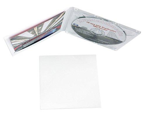 25 Digipack CD Hüllen aus Karton weiß mit Plastik Tray Farblos CD Kartonhüllen für 1 Disc mit Schlitz für Einleger (Booklet/Cover/Visitenkarte/Foto usw.)