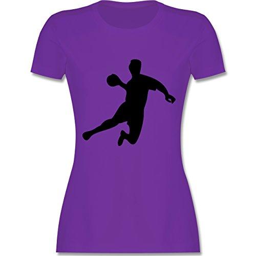 Handball - Handball - tailliertes Premium T-Shirt mit Rundhalsausschnitt für Damen Lila