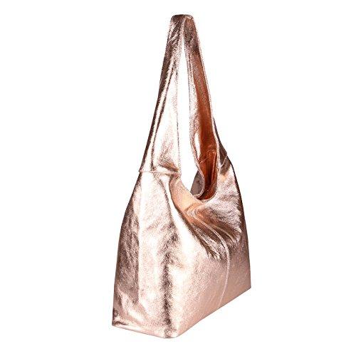 a20e92badb8e0 OBC MADE IN ITALY DAMEN LEDER HAND-TASCHE METALLIC Shopper Schultertasche  Hobo-Bag Henkeltasche ...