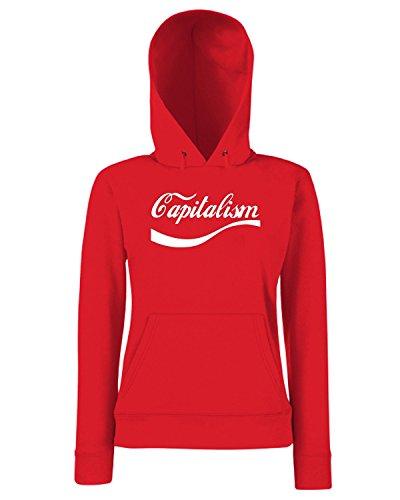 T-Shirtshock - Sweats a capuche Femme ENJOY0030 Enjoy Capitalism Rouge