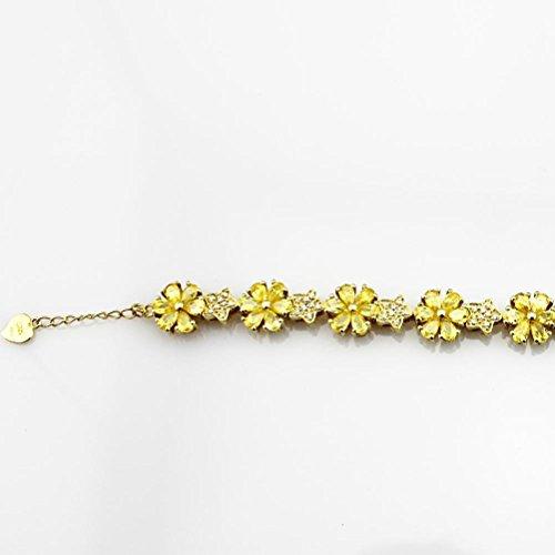 Ange en jade Link Fleur Bracelet en argent sterling avec Améthyste zircone cubique pierres couleur: violet jaune