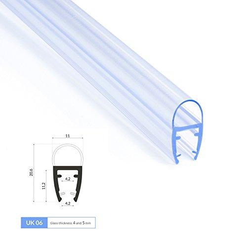 2m Joint de douche UK06 pour 4 et 5mm epaisseur d'ecrans