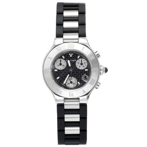 Cartier Damen W10198U2 Must 21 Chronoscaph Edelstahl und schwarzem Gummi Chronograph (Must De Cartier Für Frauen)