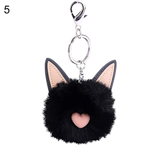 lyhhai Kunstfell Flauschige Katze Ball Schlüsselanhänger Tasche Mädchen Anhänger Schlüsselanhänger Schwarz
