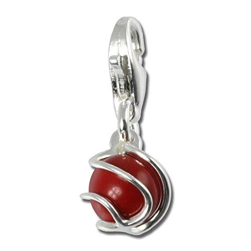 SilberDream 925 Ciondolo in Argento Sterling palla in corallo rosso pendente per collana o braccialetto orecchino FC250R