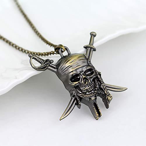 YinXX Metalldekor Fluch der Karibik Jack Skull Halskette Anhänger Charms Geschenke für Jungen Beste Freunde/Sammlungen,Brass