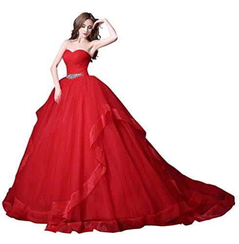 Schatz Gericht Zug (Beauty-Emily Schatz-Ausschnitt-Tüll zwei Schichten Lace-Up Gericht Zug Heirat Kleidung Hochzeitskleid Farbe Rot, Größe UK10)