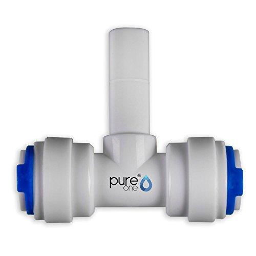 PureOne QF-10D Quick-Fitting - Schnellverbinder 3/8 x 3/8 (Tülle) x 3/8 Zoll. Ausführung: T-Stück | T-Form. Schlauch-Zubehör für Umkehr-Osmose, Wasser-Installationen oder Kühlschranksysteme