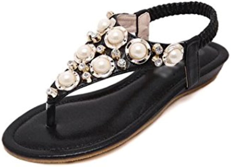 les forages en eaux xzgc sandales plates, perles clip toe toe toe mot, 5 au royaume uni, chaussures de plage Noir  b07bsygqdg parent | Brillance De Couleur  1700ca