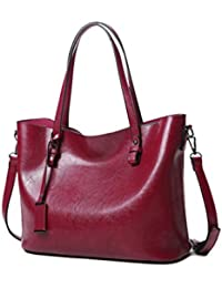 Tote Bag For Women, Large Leather Zipper Top Handle Handbags, Womens Fashion Utility Work Handbag (Deep Wine)...