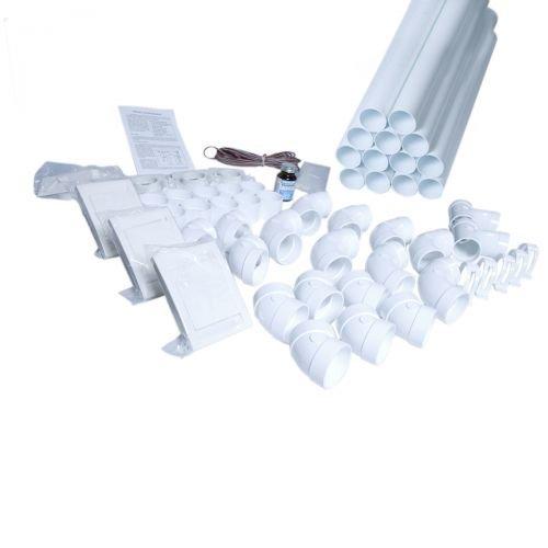 Zentralstaubsauger Einbau-Set für 3 DECO Saugdosen weiss