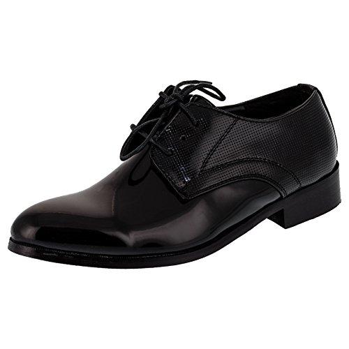 Mikelo Festliche Kinder Anzug Schuhe mit Einer Innensohle Aus Echtem Leder M349sw Schwarz 32