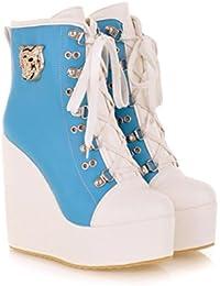 Best 4U® Zapatos de mujer PU Tela Stiching Color 10cm Zapatos de tacón altos Martin Boots Zapatos de punta redonda...