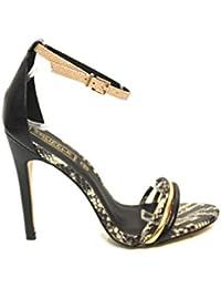 F11241A - Escarpins à talons hauts - bride - effet serpent - femme - noir