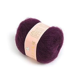 ANKKO Soft Natural Angola Plush Mohair Cashmere Wool Knitting Skein Yarn - Purple