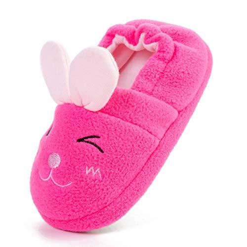 L-RUN Kleinkind Mädchen Bunny Slipper Anti-Skid Winter warme Baumwolle Hausschuhe mit Plüsch Häschen/Rosy (Häschen-hausschuhe Für Mädchen)
