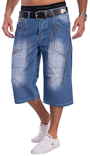 Herren Sommer Jeans Shorts CoolBlue 3/4 ID1308 Loose Fit, Größe Jeans:W29 (Loose Shorts Jean Fit)