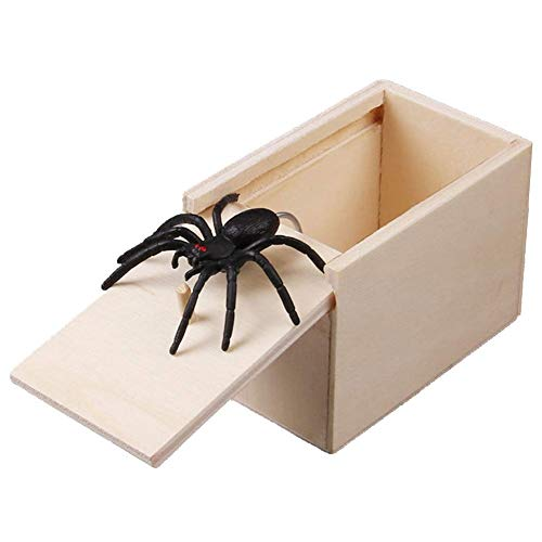 Wildlead 1 Stück Holz Prank Spider Scare Box Case Realistische Broma Lustiges Spielzeug Gag
