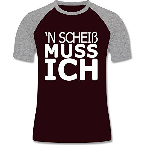 Statement Shirts - 'N Scheiß muss ich - zweifarbiges Baseballshirt für Männer Burgundrot/Grau meliert