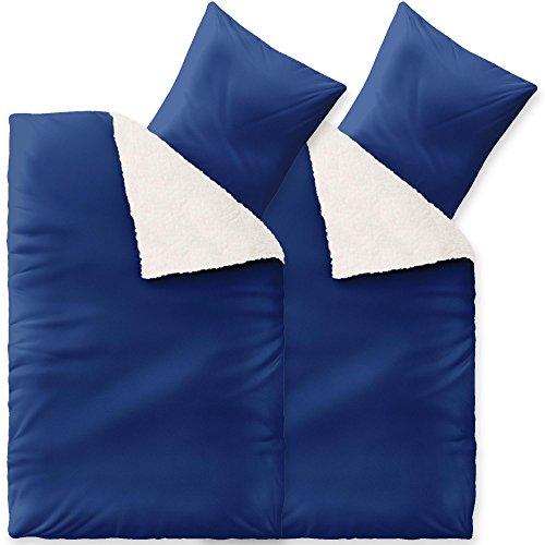 CelinaTex Bettwäsche 4tlg 2X 135x200 Sherpa Lammfell-Optik Winter Bettgarnitur 6000288 Fantasia Sandy blau