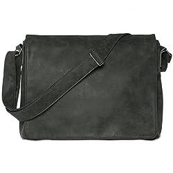 CASPAR TS1012 Vintage Umhängetasche/Messenger Bag, Farbe:schwarz;Größe:One Size