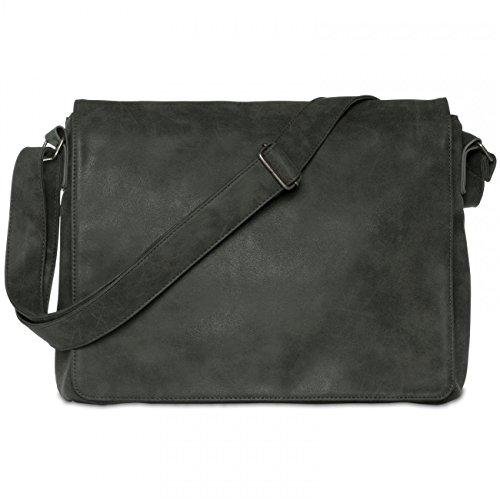 CASPAR TS1012 Vintage Umhängetasche / Messenger Bag Schwarz