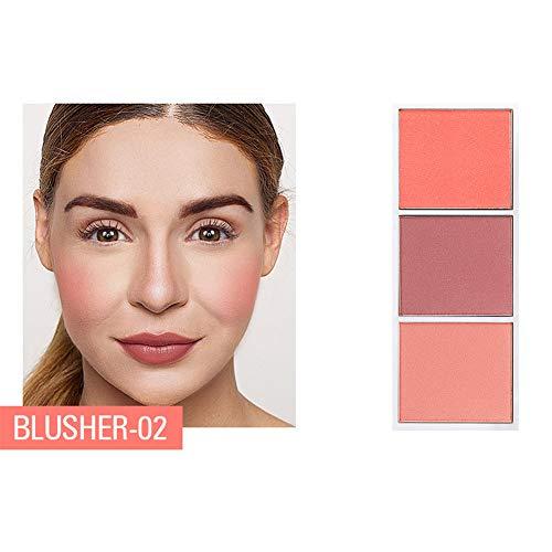 LanLan Anti-cernes et correcteurs 3 Couleurs Surligneur Palette Maquillage Contour du Visage Poudre Bronzer Maquillage Blusher Palette De Blush Professionnel 02