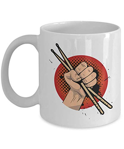 A Hand Holding Drum Sticks Graphic Illustration Art Coffee & Tea Gift Mug, Kitchen Items, Party Favors, Ornament, Novelty Stuff & Cool Cup Gifts For Drummer Boy, Girl And Men & Women Drummers (15oz)