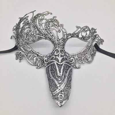 Dress Fancy Phoenix Kostüm - TWELVEMJ Sexy Spitzenmaske Ausschnitt Augenmaske Für Maskerade Party Kostüm Spitze Phoenix Vogel Maske für Halloween Party Phantasie, Silber