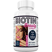 Biotin Beauty - Hair Growth Vitamins - 12,000mcg Biotin Maximum Strength - Added MSM plus