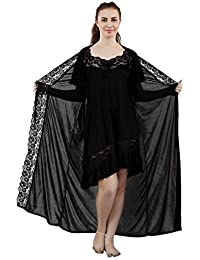 Romaisa Women s Satin Lace Work Nightdress with Robe (Size - Free) (Pack of a58c59d61